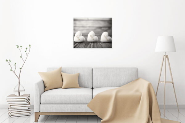 71164690 - interior poster mock-up with fabric sofa, plaid and pillows on white wall background. 3d rendering.